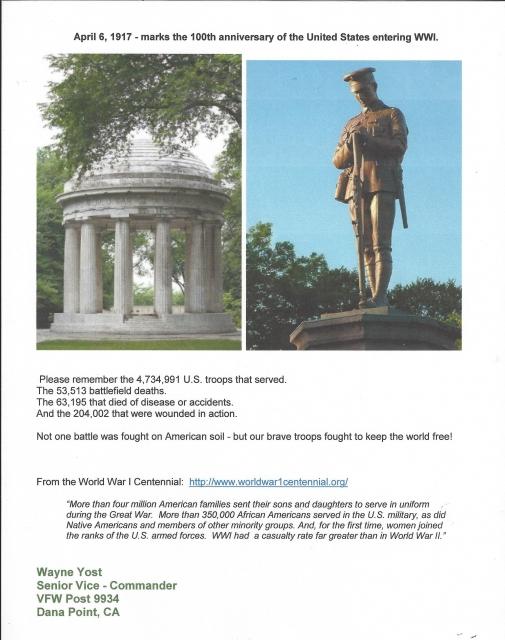 WWI Centennial Message