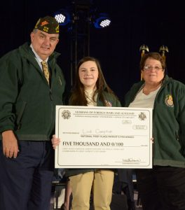 "Lindi Compton, an eighth-grade student, was named the 2016-17 Patriot's Pen first-place winner. Her essay on the theme, ""The America I Believe In,"" won her a $5,000 award. Lindi was sponsored by VFW Post 5813 and its Auxiliary in Greensburg, Ky."